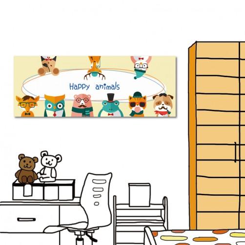 動物無框畫 飯店民宿裝飾 餐廳裝潢 單聯式 80x30cm-快樂動物