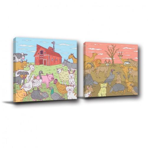 二聯式 方型 動物 小孩房佈置 幼稚園佈置 圖書館 動物卡通 無框畫 掛畫-動物世界-30x30cm