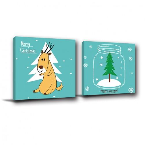 二聯式 方型 鹿 聖誕節 聖誕樹 小孩房佈置 圖書館 動物卡通 無框畫 掛畫-與你過聖誕-30x30cm