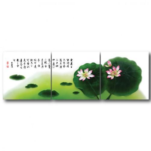 三聯式 方型 中式 花卉 蓮花 無框畫 防潑水 掛畫 辦公室 室內裝飾 家飾品-愛蓮說-30x30cm