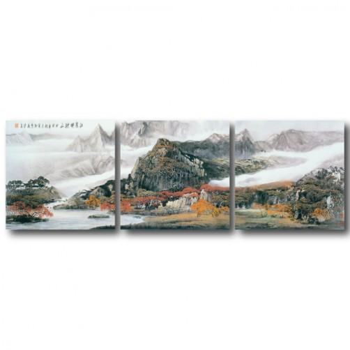 三聯式 方型 山水掛畫 風景 臥室 客廳 無框畫 長輩禮-秋山紅葉-30x30cm