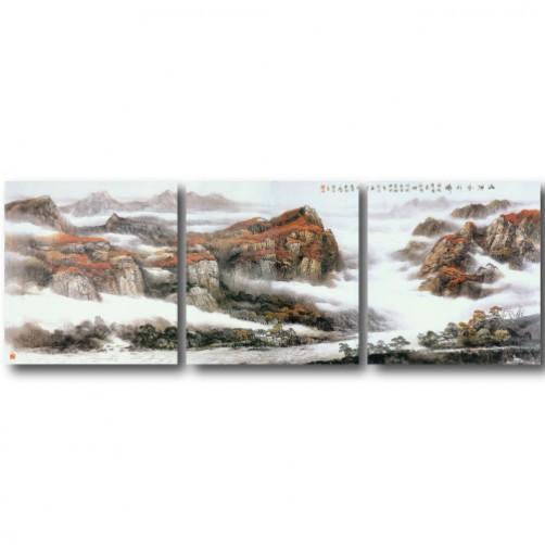 三聯式 方型 山水掛畫 風景 臥室 客廳 無框畫 長輩禮-紅葉-30x30cm