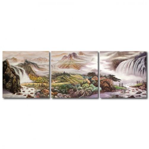 三聯式 方型 山水掛畫 風景 臥室 客廳 無框畫 長輩禮-秋山-30x30cm
