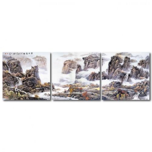 三聯式 方型 山水掛畫 風景 客廳 無框畫 長輩禮-風起雲爭-30x30cm