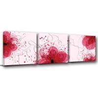 三聯式方型 掛畫無框畫 花卉-落英繽紛30x30cm