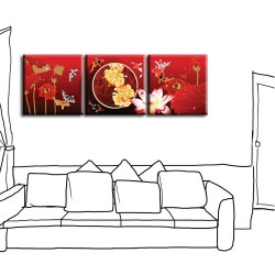 三聯式 方型 喜氣 無框畫 掛畫 長輩禮 新年禮 客廳 辦公室裝飾-富貴吉祥-30x30cm