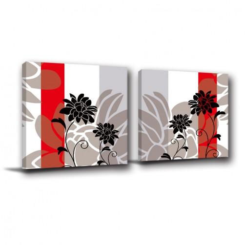 二聯式 方型 花卉 掛畫 無框畫 餐廳 客廳 民宿 飯店 新居落成 家居裝飾-黑色花朵-30x30cm