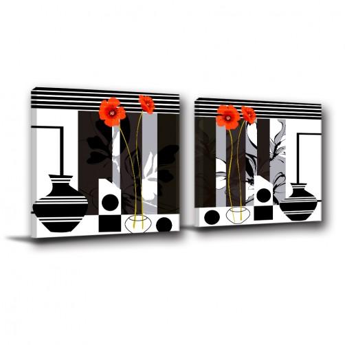 二聯式 方型 花卉 普普風 黑白 掛畫 無框畫 餐廳 客廳 民宿 飯店 新居落成 家居裝飾-簡約花朵-30x30cm