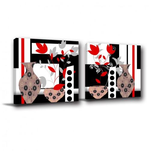 二聯式 方型 紅色 掛畫 無框畫 花卉 黑白 餐廳 客廳 民宿 飯店 新居落成 家居裝飾-美麗的形式-30x30cm