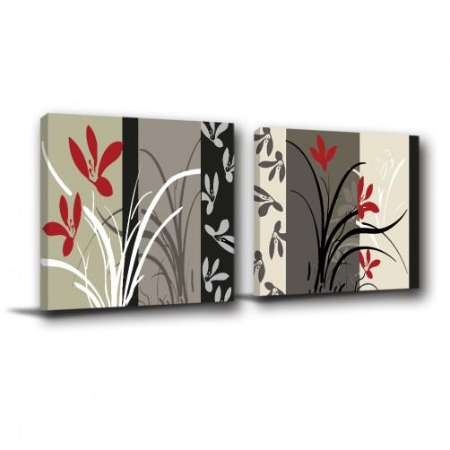 二聯式 方型 紅色 掛畫 無框畫 花卉 普普風 黑白 餐廳 客廳 民宿 飯店 新居落成 家居裝飾-抽象的美-30x30cm
