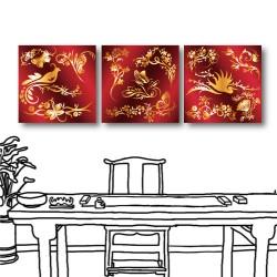 三聯式 方型 喜氣 金色 紅色 新年禮 家飾品 掛畫 民宿 壁畫 家居擺設 -喜氣洋洋-30x30cm