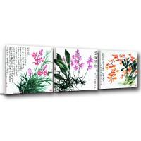 三聯式 方型 書法字 花卉 室內裝飾 -古風-30x30cm