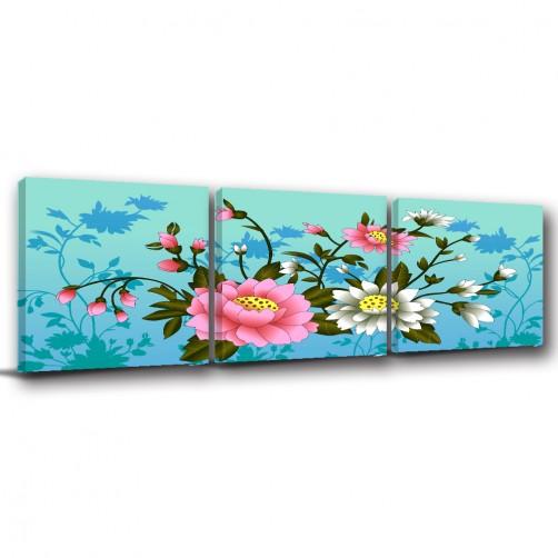 三聯式 方型 中式 花卉 荷花 無框畫 防潑水 掛畫 辦公室 室內裝飾 家飾品 -荷花圖-30x30cm