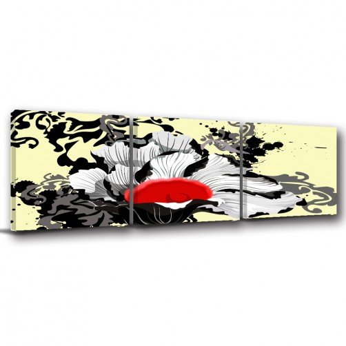 三聯式 方型 中國風 無框畫 長輩禮 客廳 辦公室裝飾 喜氣 覆膜防潑水 掛畫-雲霧繚繞-30x30cm