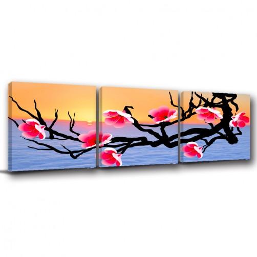 三聯式 方型 中國風 花卉 夕陽 無框畫 長輩禮 客廳 辦公室裝飾 喜氣 掛畫-映著夕陽的花-30x30cm