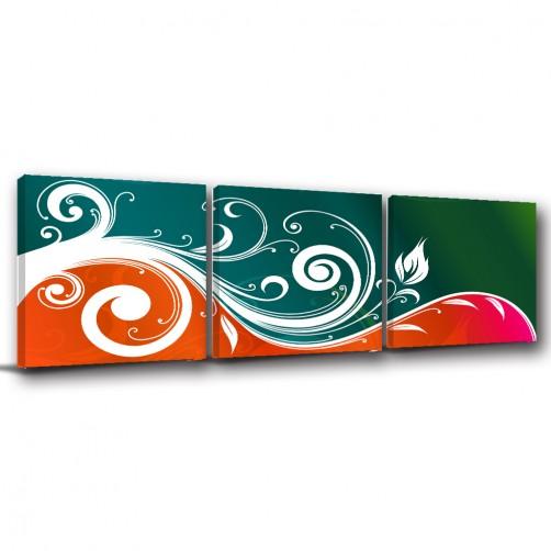 三聯式 方型 花卉 抽象 油畫布 無框畫 掛畫 現代感 送禮 防潑水掛畫 掛鐘-吹雪-30x30cm
