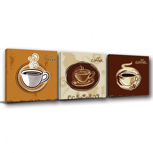 三聯式 方型 咖啡 餐廳裝潢 無框畫 掛畫-下午茶-30x30cm