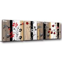 【123點點貼】花卉壁貼 無痕壁貼 家飾品 三聯式 30x30cm-古色古香