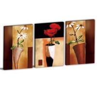 【123點點貼】花卉壁貼 無痕壁貼 家飾品 三聯式 30x40cm-藝術喜好
