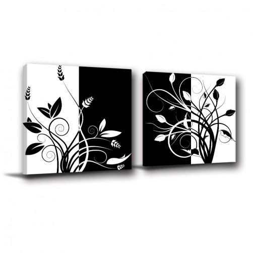 二聯式 方型 黑白 花卉 對比色 家居裝飾 無框畫 掛鐘 壁鐘 客廳 餐廳 飯店 家居裝飾 民宿-無名花-30x30cm