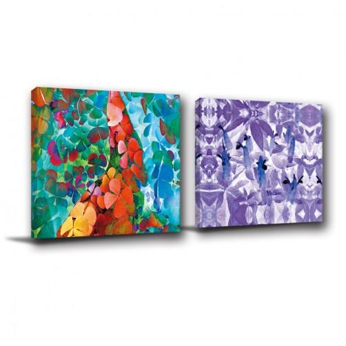 二聯式 方型 花卉 書房 掛畫 家飾品 家居裝飾 無框畫 客廳 餐廳 飯店 咖啡廳 民宿-似蝶飛舞-30x30cm