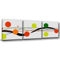 【123點點貼】壁貼 無框畫壁貼 三聯式 30x30cm-律動