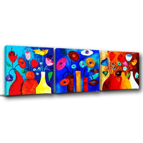 三聯式 方型 花卉 抽象 繽紛 小孩房 圖書館 遊戲室 民宿 飯店 餐廳 -花花世界-30x30cm