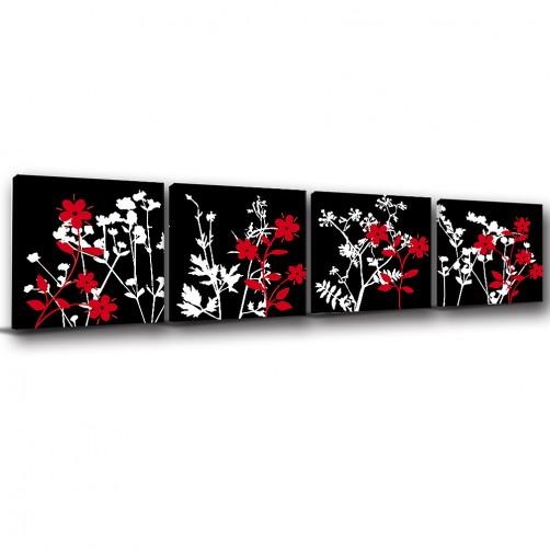 四聯式 方型 花卉  餐廳 民宿 旅館 飯店 家飾品 臥室 無框畫 -四如一-30x30cm