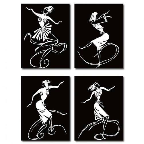 四聯式 直幅 咖啡廳 舞蹈教室 餐廳 民宿 無框畫 異國 掛畫 辦公室 書房-舞動人生-30x40cm
