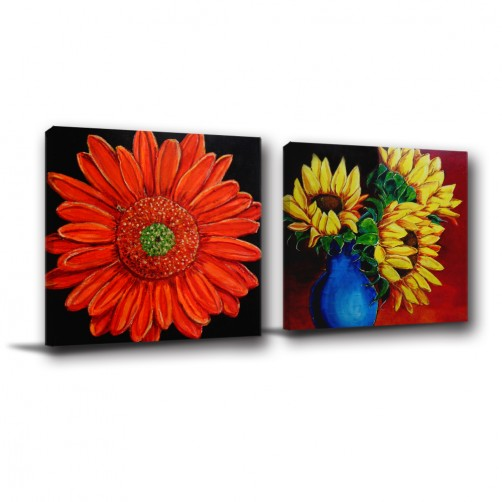 二聯式 方型 植物 花卉 歐式 客廳 臥室 招待室 大廳 書房-花其艷-30x30cm
