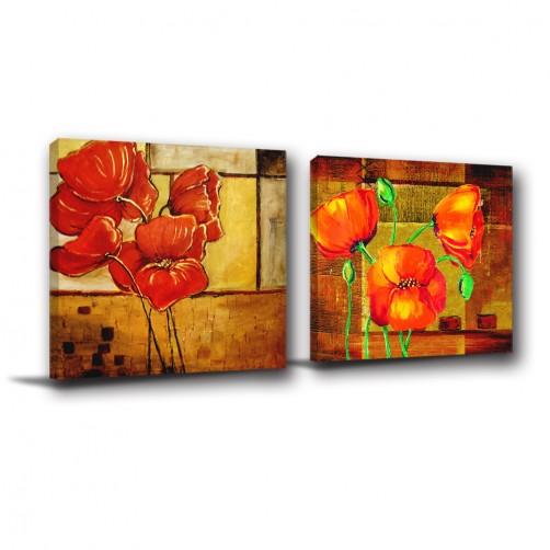 二聯式 方型 無框畫 油畫 花店 花卉 客廳 民宿 餐廳 飯店 掛畫 防潑水-花果果-30x30cm