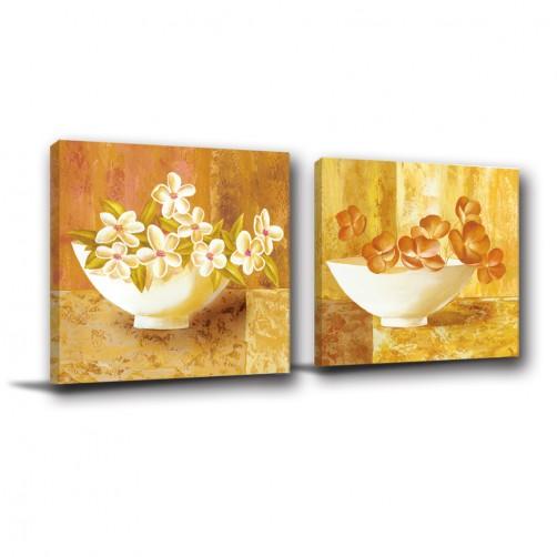 二聯式 方形 花卉 油畫掛畫 客廳裝飾 辦公室裝飾 民宿餐廳擺設 家居裝飾 寢室傢俱-高貴-30x30cm
