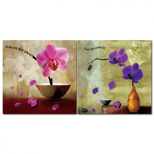 二聯式 方形 花卉 花店 蘭花 客製無框畫 民宿 中式餐廳裝潢 家居裝飾 圖書館-典雅蘭花-30x30cm