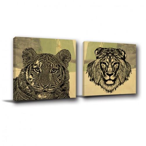 二聯式 方型 動物 獅子 家飾品 無框畫 掛鐘 掛畫 客廳 餐廳 飯店 家居裝飾 民宿 -百獸王-30x30cm