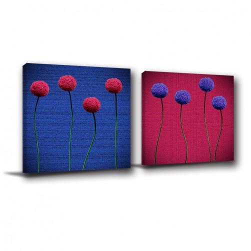 二聯式 方型 紅色 花卉 家居裝飾 無框畫 書房 壁鐘 客廳 餐廳 飯店 家居裝飾 民宿-花球-30x30cm