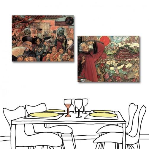 二聯式 橫幅 中國風 中式餐廳 日式餐廳 民宿飯店裝潢 無框畫 橙品油畫布 -歡慶-40x30cm