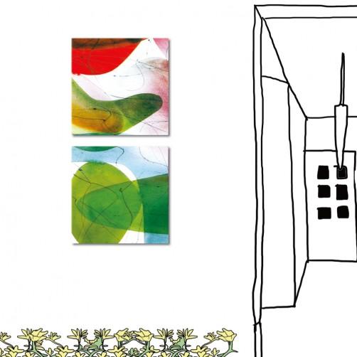 二聯式 方形 抽象 餐廳佈置 民宿飯店裝潢 流行家飾 室內裝潢 無框畫 客製掛畫 橙品油畫布-紅花綠映-30x30cm