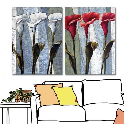 24mama 藝術無框畫 橙品油畫布 家居掛畫 掛畫花卉 流行家飾 室內裝潢 二聯式 直幅 30x40cm-紅白海芋花