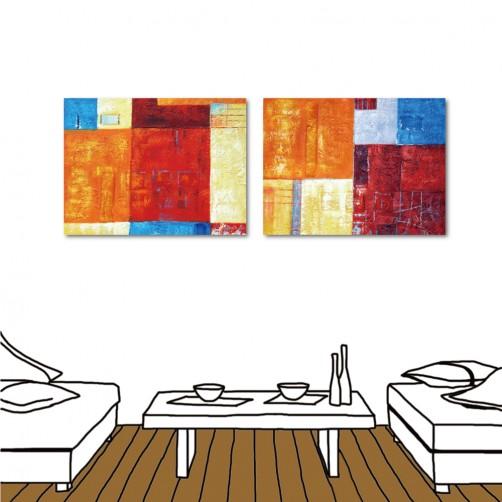 24mama 無框畫 掛鐘 臥室裝潢 二聯式 橫幅 40x30cm -奇幻