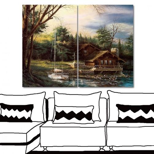 24mama 放鬆-大型無框畫 室內裝潢 家居掛畫 二聯式 直幅 40x60cm