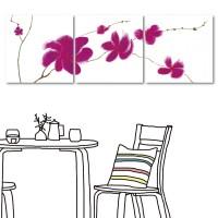 【123點點貼】 壁貼 家居布置 牆貼 無框畫壁貼 三聯式 方形30x30cm-桃紅花