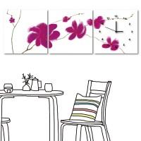 無框畫 家飾品 三聯式 方形30x30cm-桃紅花