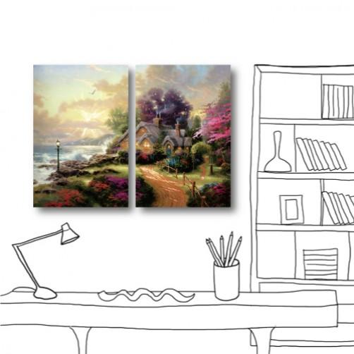 24mama 藝術掛畫 無框畫 美學365 家居裝潢 二聯式 直幅 40x60cm-山邊小屋
