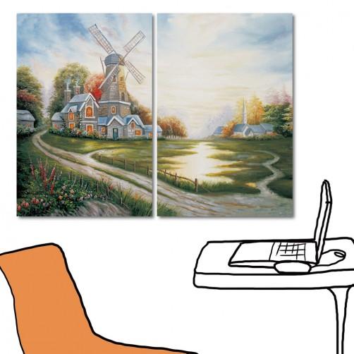美學365 藝術無框畫 大型掛畫 掛鐘 家居掛畫 二聯式 橫幅 40x60cm-荷蘭的鄉村