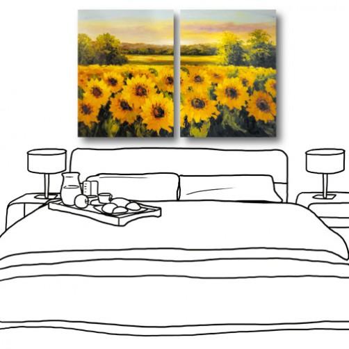 24mama 藝術無框畫 家居掛畫 風景掛畫 二聯式 30x40cm-向日葵園