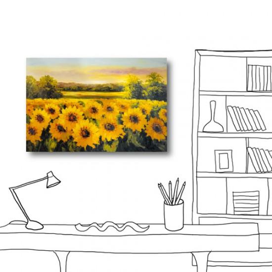 藝術無框畫 無框畫 居家掛畫 大型掛畫 單聯式 60x40cm-向日葵園